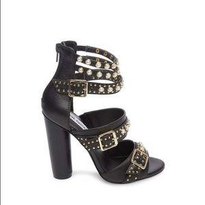 Steve Madden Juliana Black Gold Pearl Straps Heels
